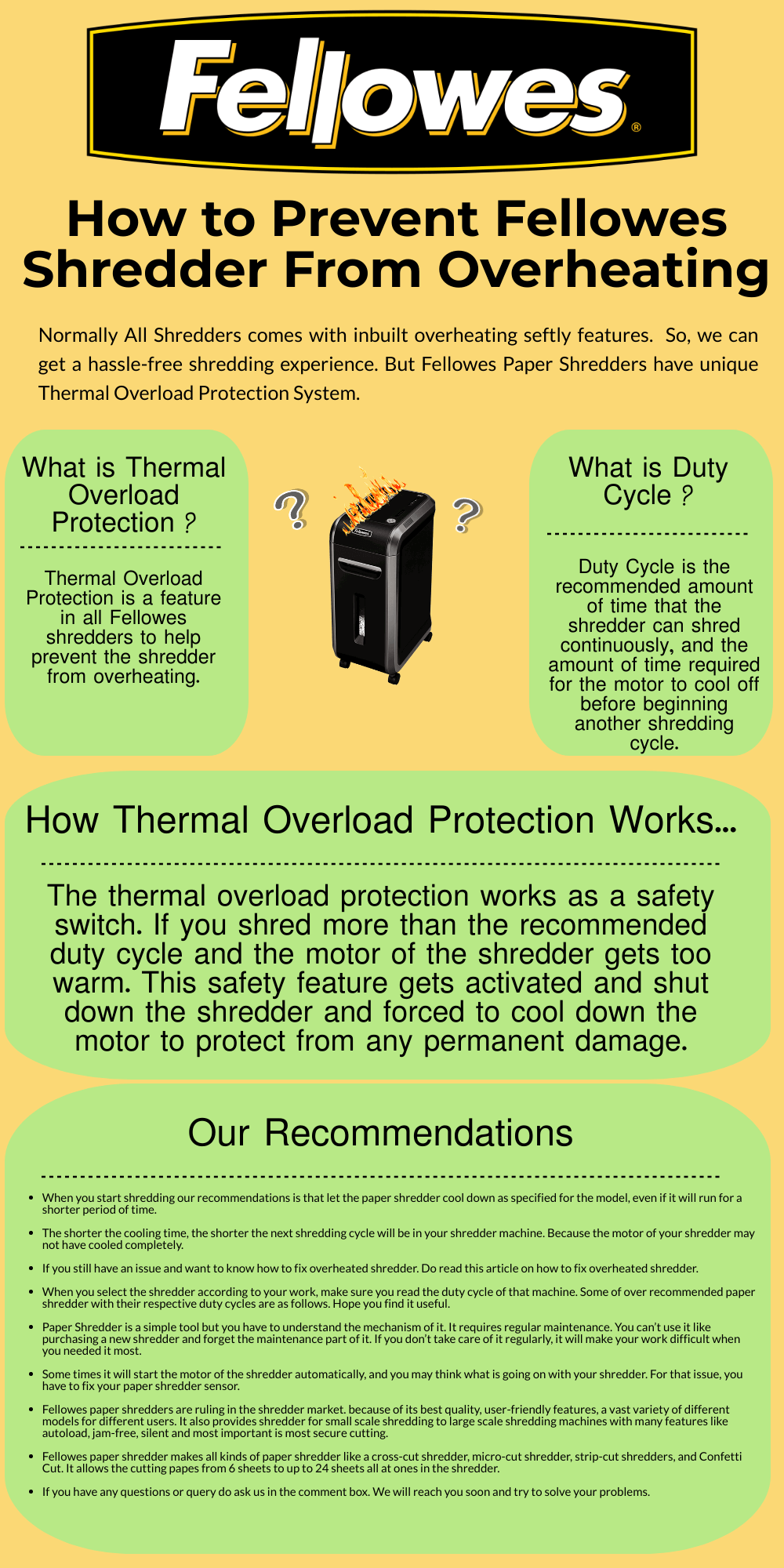 Fellowes Shredder Overheat - Thermal Overload Protection 2